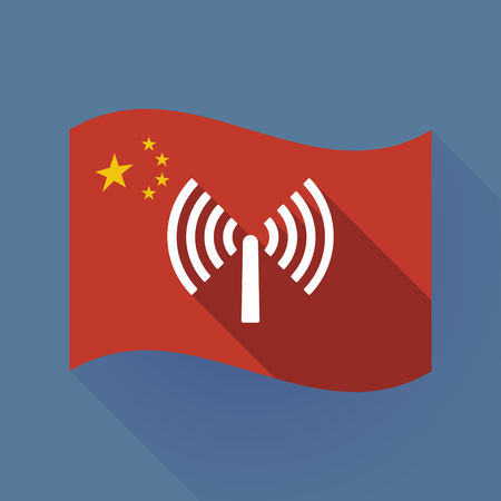 Illustration of a long shadow waving China flag with an antenna