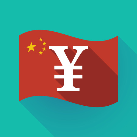 Illustration of a long shadow waving China flag with a yen sign