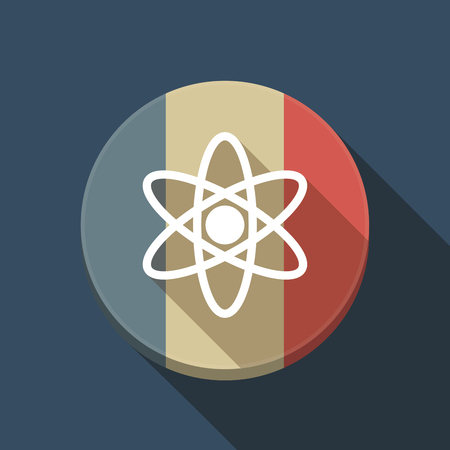Illustration of a long shadow France round button flag with an atom