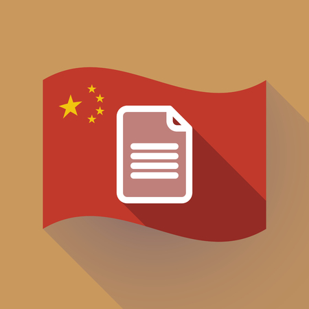 Illustration of a long shadow waving China flag with a document
