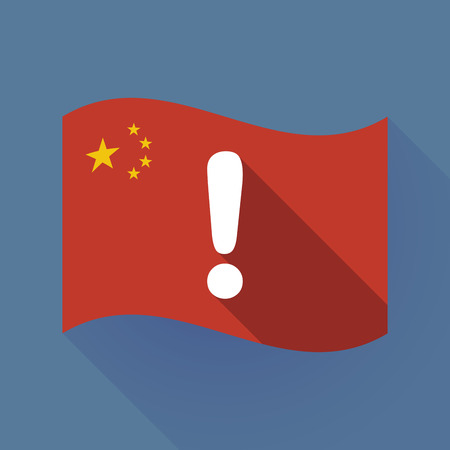 Illustration of a long shadow waving China flag with an exclamation sign Ilustração