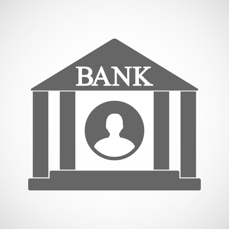 Illustration of an isolated bank icon with a male avatar