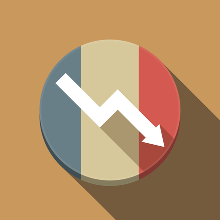 Illustration of a long shadow France round button flag with a descending graph
