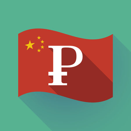 Illustration of a long shadow waving China flag with ruble sign