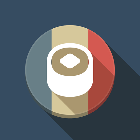 Illustration of a long shadow France round button flag with a piece of sushi Ilustração