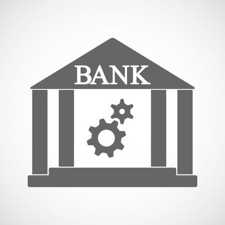 Illustration of an isolated bank icon with two gears Ilustração