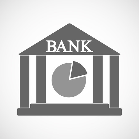 Illustration of an isolated bank icon with a pie chart