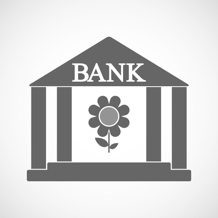 Illustration of an isolated bank icon with a flower
