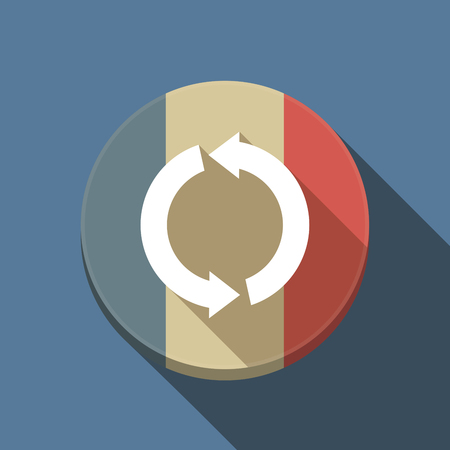Illustration of a long shadow France round button flag with a round recycle sign Ilustração