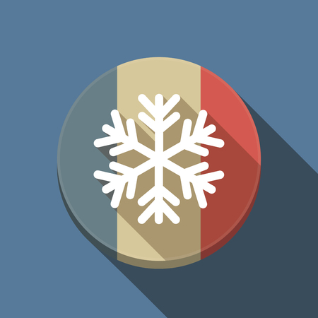 Illustration of a long shadow France round button flag with a snow flake Ilustração