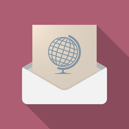 Illustration of a long shadow opened letter with  a table world globe