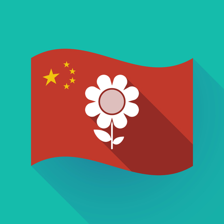 Illustration of a long shadow waving China flag with a flower