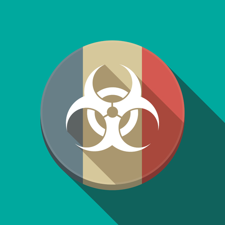 riesgo biologico: Illustration of a long shadow France round button flag with a biohazard sign