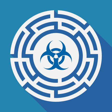 riesgo biologico: Illustration of a long shadow labyrinth with a biohazard sign Vectores