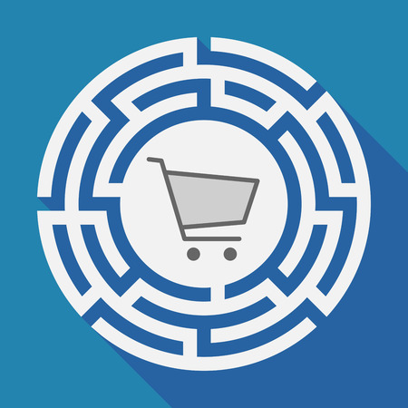 Illustration of a long shadow labyrinth with a shopping cart