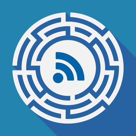 really simple syndication: Illustration of a long shadow labyrinth with an RSS sign Illustration