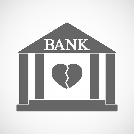 Illustration of an isolated bank icon with a broken heart