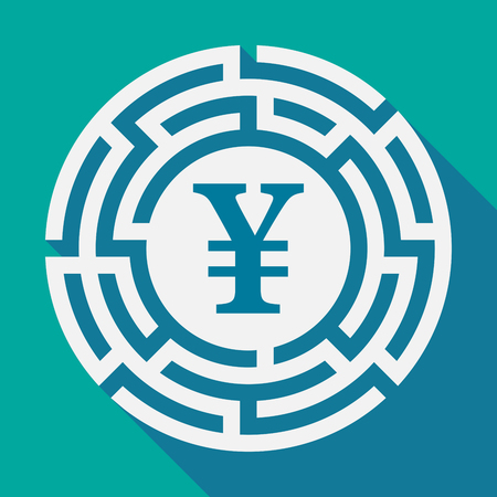 Illustration of a long shadow labyrinth with a yen sign