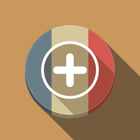 Illustration of a long shadow France round button flag with a sum sign