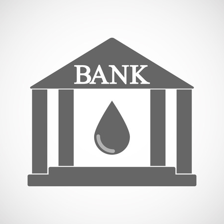 Illustration of an isolated bank icon with a blood drop Illustration
