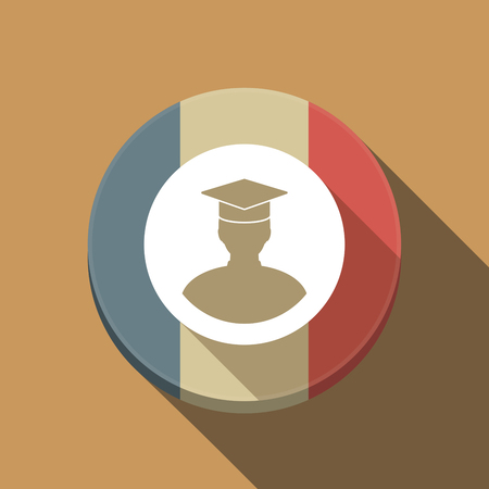 Illustration of a long shadow France round button flag with a student Illustration