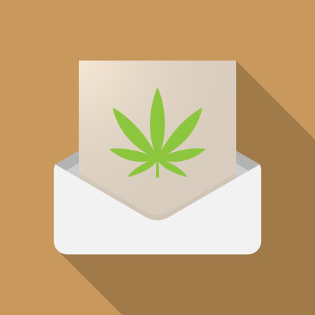 Illustration of a long shadow opened letter with a marijuana leaf Illustration