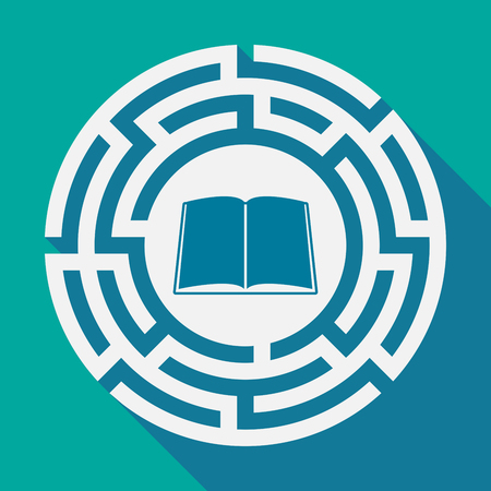 Illustration of a long shadow labyrinth with a book
