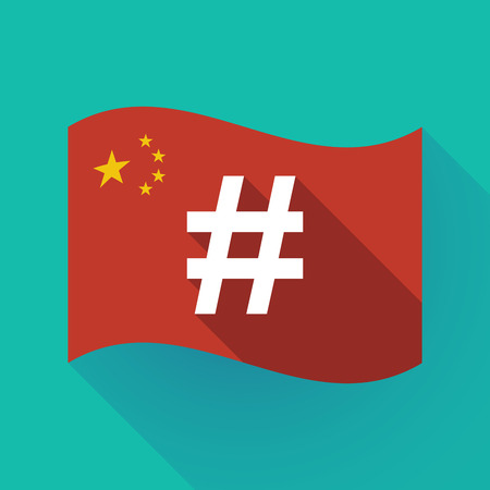 Illustration of a long shadow waving China flag with a hash tag