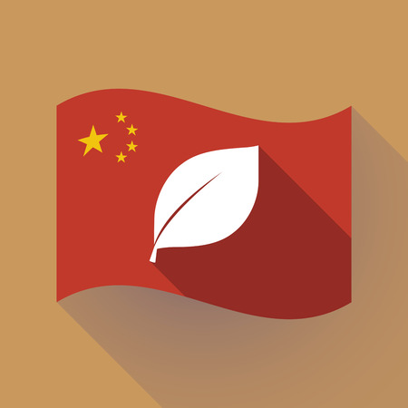 Illustration of a long shadow waving China flag with a leaf