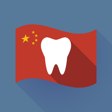 Illustration of a long shadow waving China flag with a tooth 向量圖像