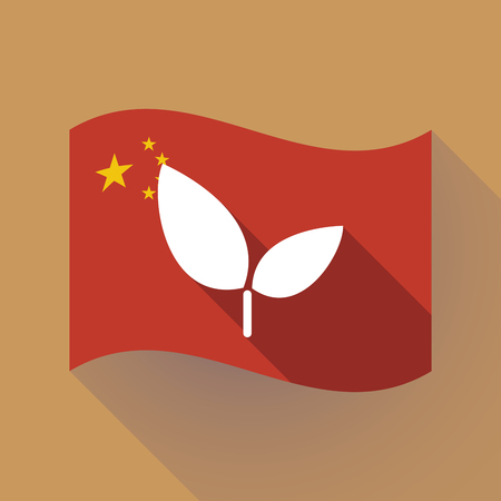 Illustration of a long shadow waving China flag with a plant