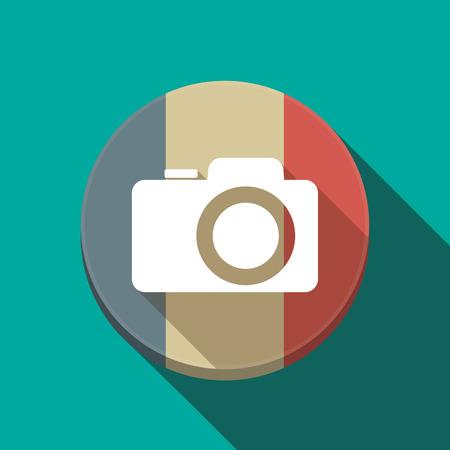 フランスの長い影のイラスト ラウンド ボタン フラグ写真カメラ