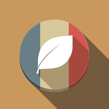 Illustration of a long shadow France round button flag with a leaf