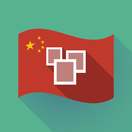 Illustration of a long shadow waving China flag with a few photos