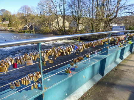 padlocks: Padlocks on a bridge in Bakewell
