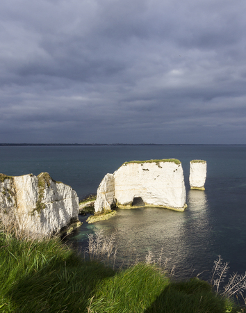 geological feature: Old Harry Rocks near Swanage in Dorset Stock Photo