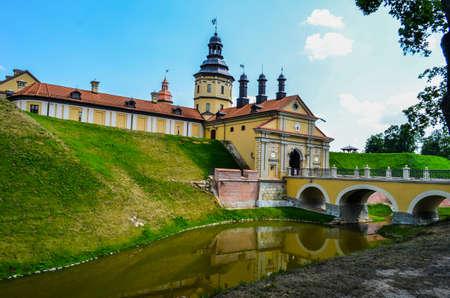 beautiful castle with a moat very bright scenery, good weather Redakční