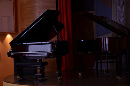 two Grand pianos on stage ready for the concert