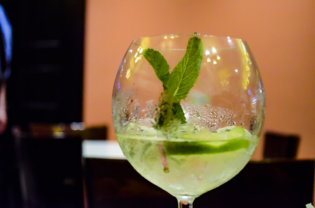 Glass with a refreshing drink with mint and lime Reklamní fotografie