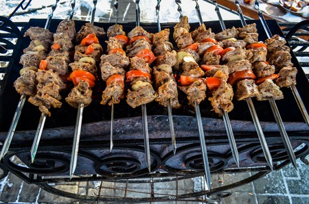 Juicy meat on skewers bright picture of cooking meat