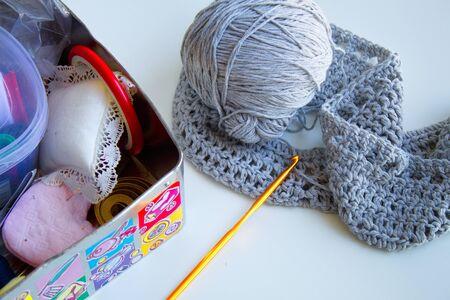 nice sewing box with creative wool sweater