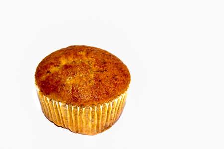 banana cup cake isolated on white background photo