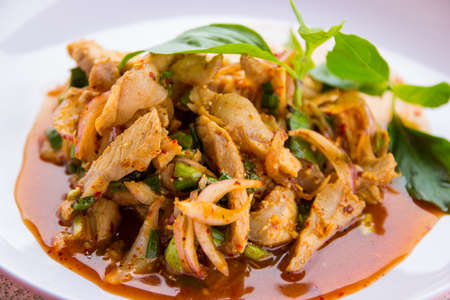 Sliced grilled beef salad is spicy Thai food  photo