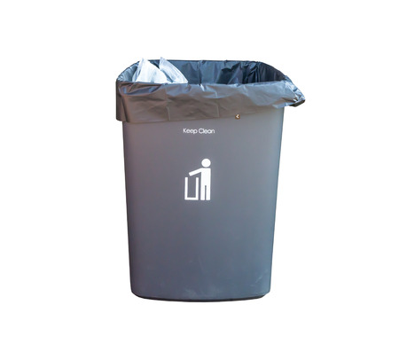 Bin full of rubbish isolated on white photo