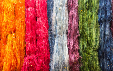 dyeing: colorful of raw multicolored silk thread background