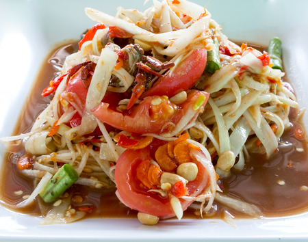 Papaya Salad,Thai Som Tam with crab photo
