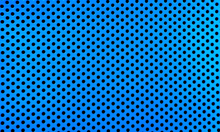 Old metal grate with round holes painted in light blue as a texture photo