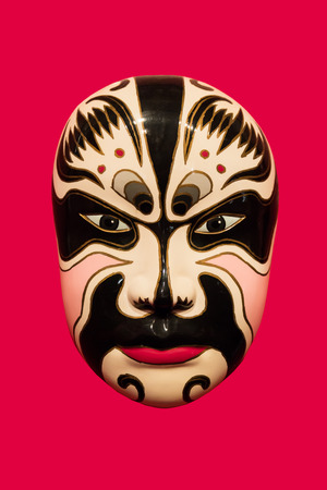 facial painting: chinese traditional facial painting with red isolated background