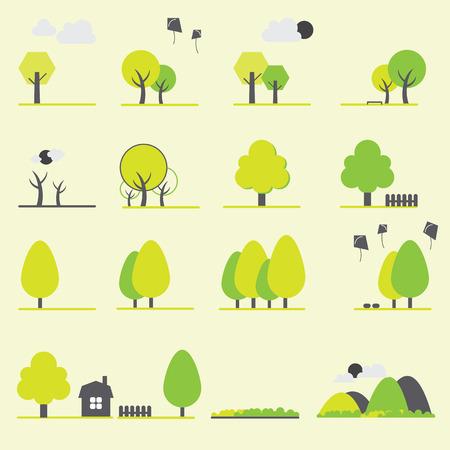 Trees, landscape, park icons set