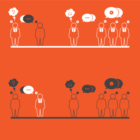 negatively: In society there are people who think positively and negatively.